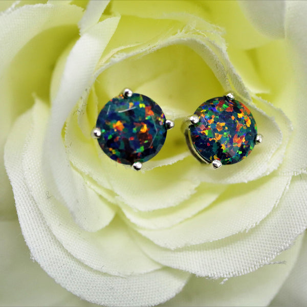 Faceted Black Fire Opal Stud Earrings White Gold Plated