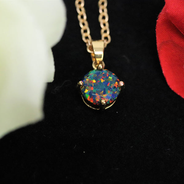Faceted Black Fire Opal Necklace 14k Gold Plated 8mm