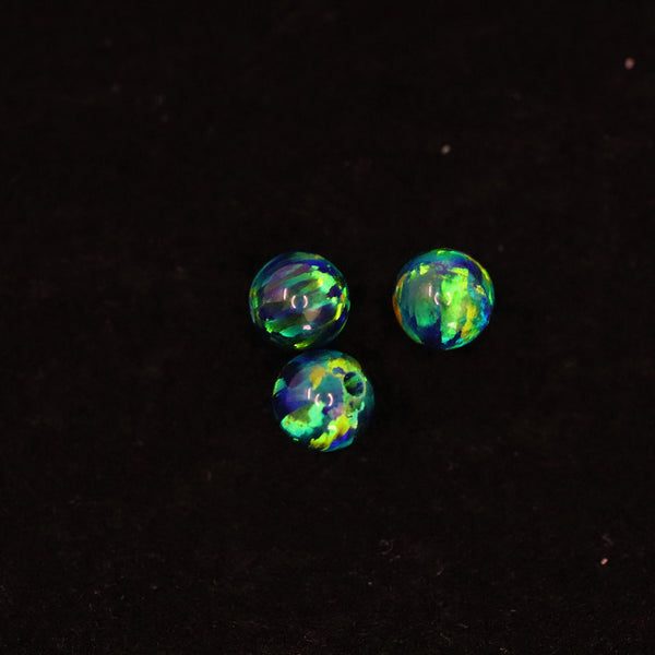Black Emerald Opal 4mm Craft Beads - 1mm Center Drilled