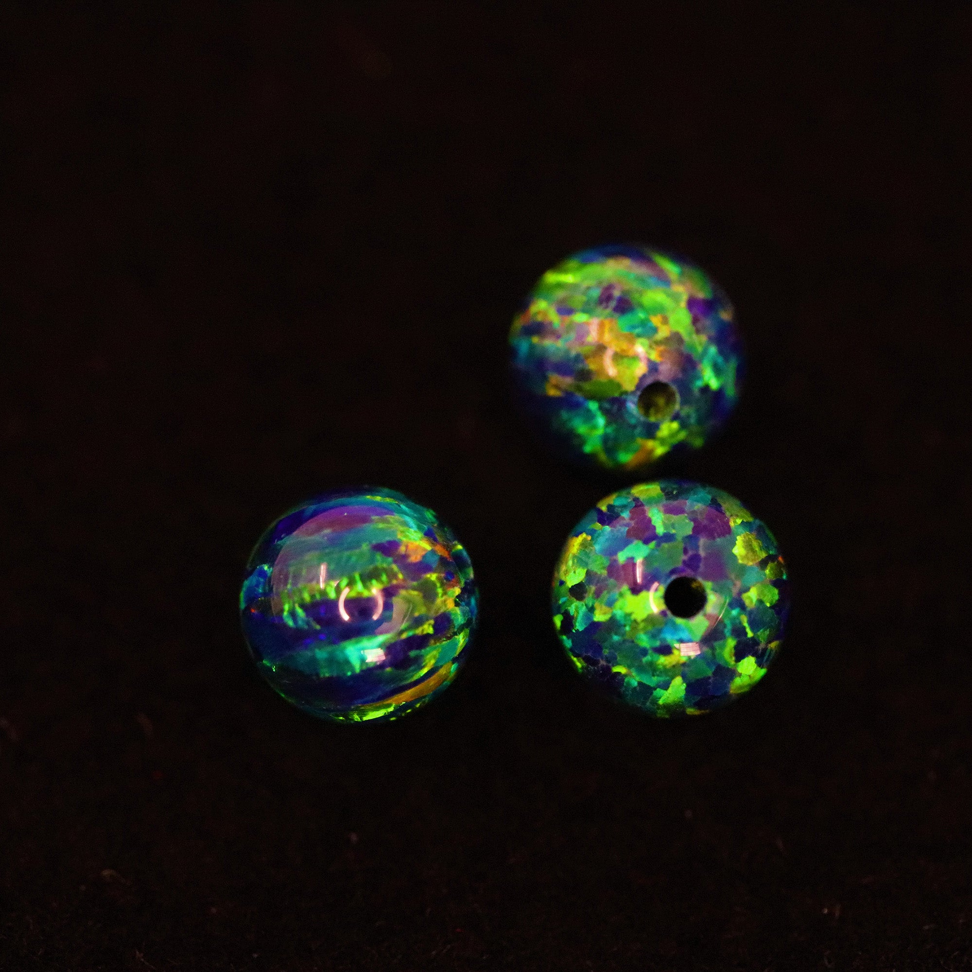 Black Emerald Opal 6mm Craft Beads - 1mm Center Drilled