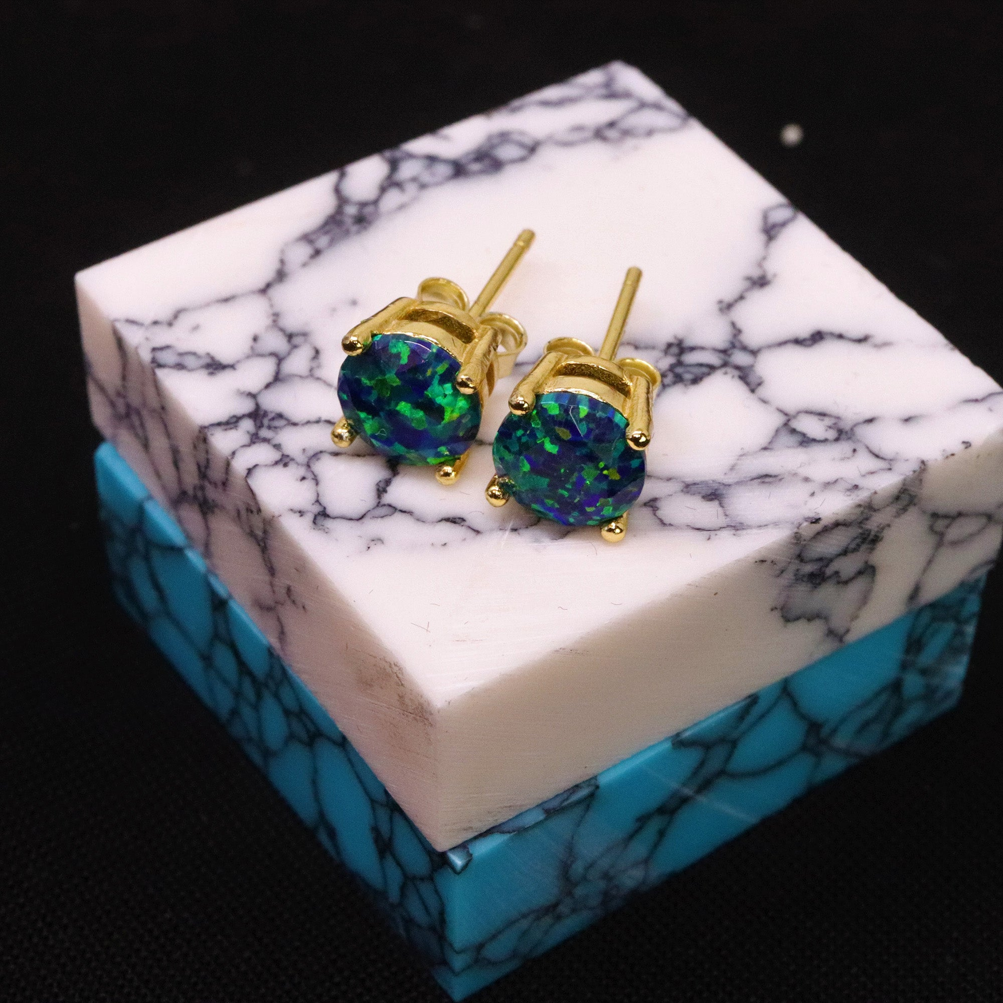 Faceted Black Emerald Opal Stud Earrings 14k Gold Plated