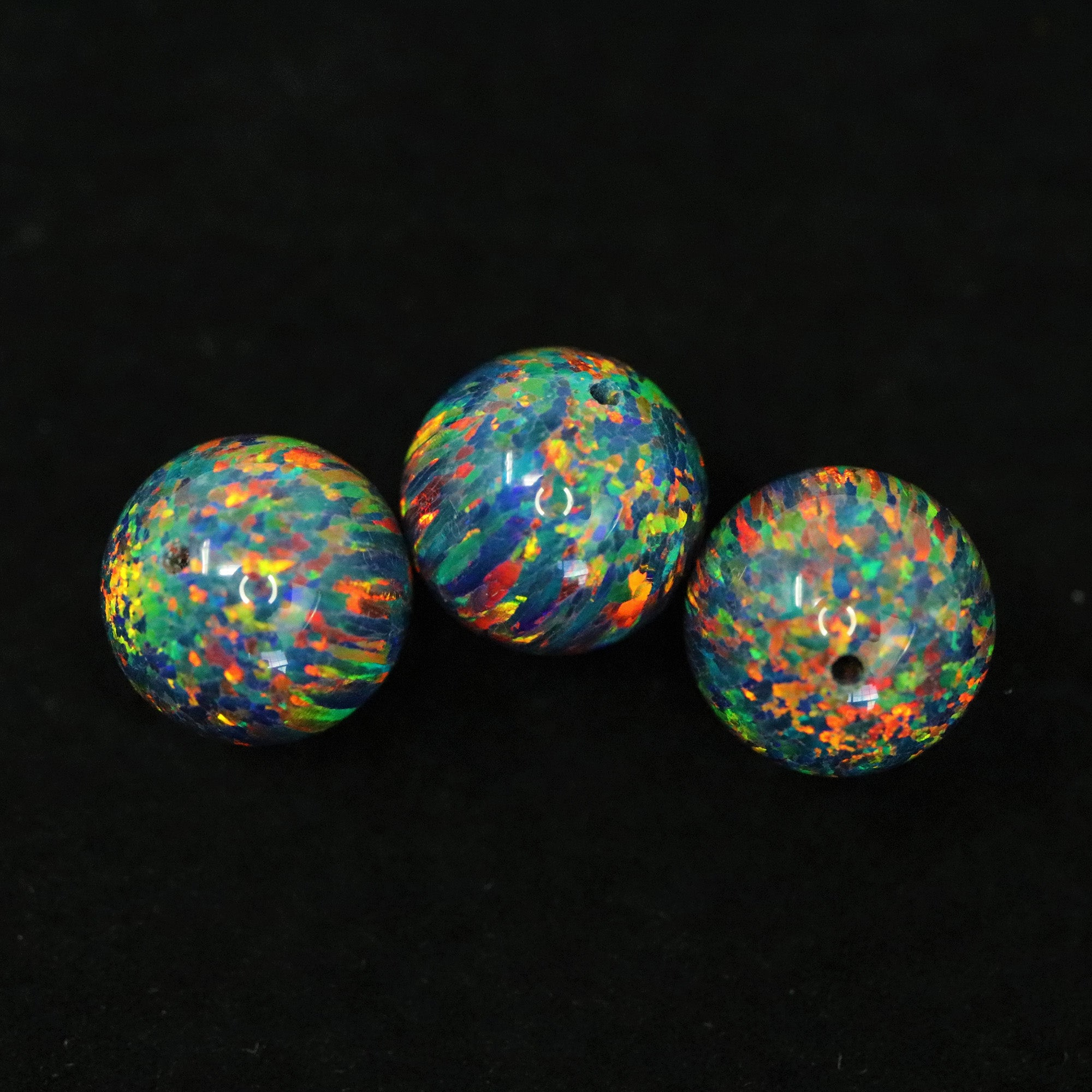 Black Fire Opal 10mm Craft Beads - 1mm Center Drilled