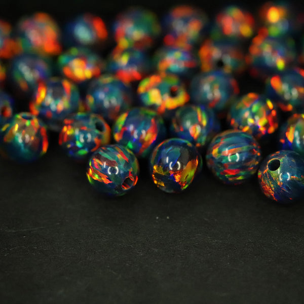 Black Fire Opal 4mm Craft Beads - 1mm Center Drilled
