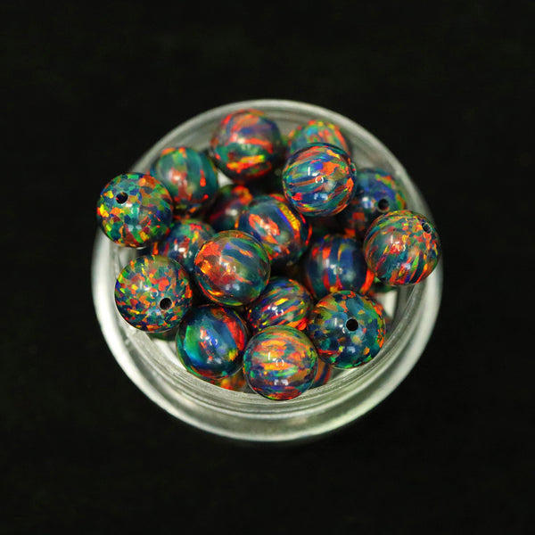 Black Fire Opal 6mm Craft Beads - 1mm Center Drilled