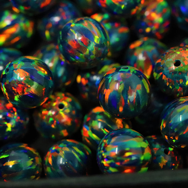 Black Fire Opal 8mm Craft Beads - 1mm Center Drilled