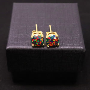 Faceted Black Fire Opal Stud Earrings 14k Gold Plated