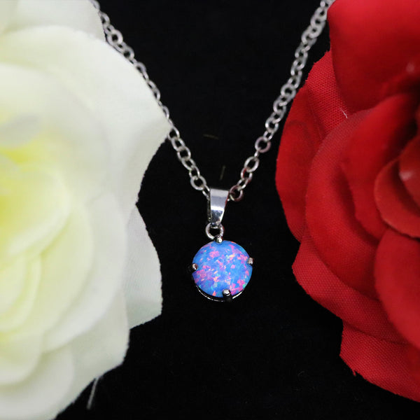 Faceted Cotton Candy Opal Necklace White Gold Plated 8mm