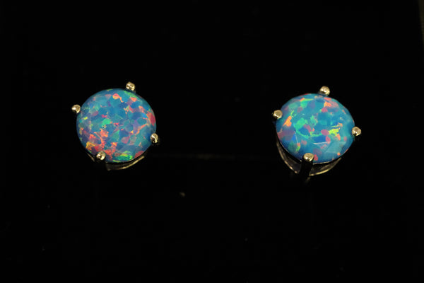 Faceted Cotton Candy Opal Stud Earrings White Gold Plated 5mm/6mm/7mm