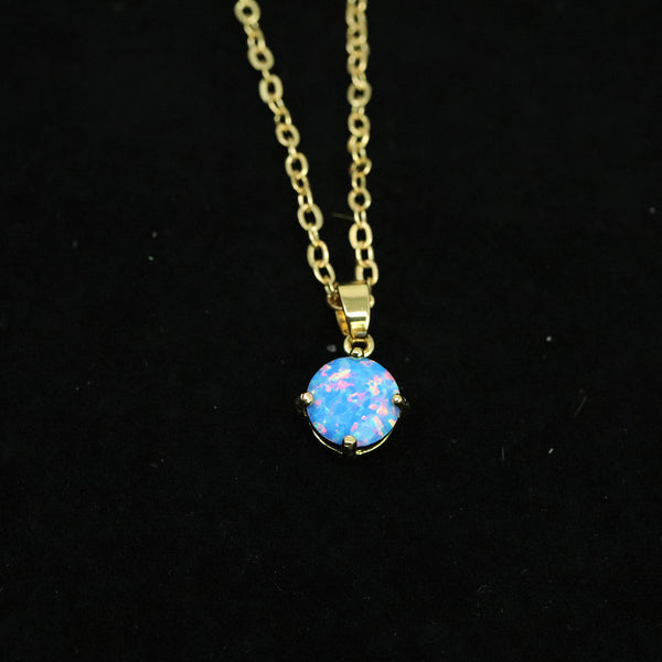 Faceted Cotton Candy Opal Necklace 14k Gold Plated 8mm