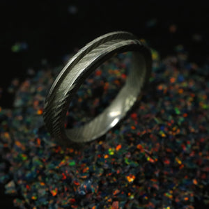 Twisted Stainless Damascus Steel Ring Blank 4mm Wide, 2mm Channel