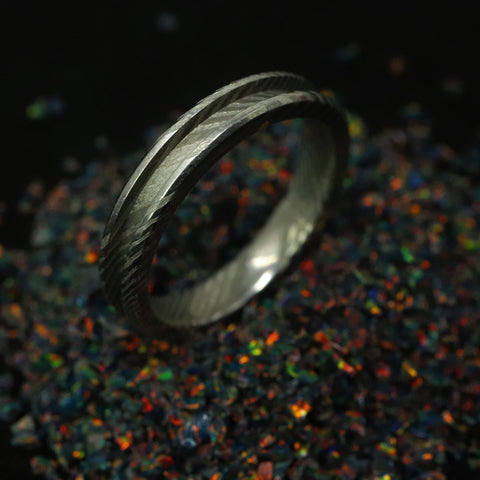 Ring Blank Twisted Stainless Damascus Steel 4mm Wide 2mm Channel