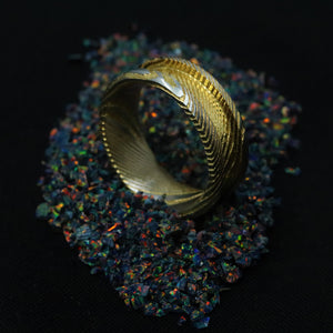 24K Gold Plated Twisted Stainless Damascus Steel Ring Blank 8mm Wide, 4mm Channel