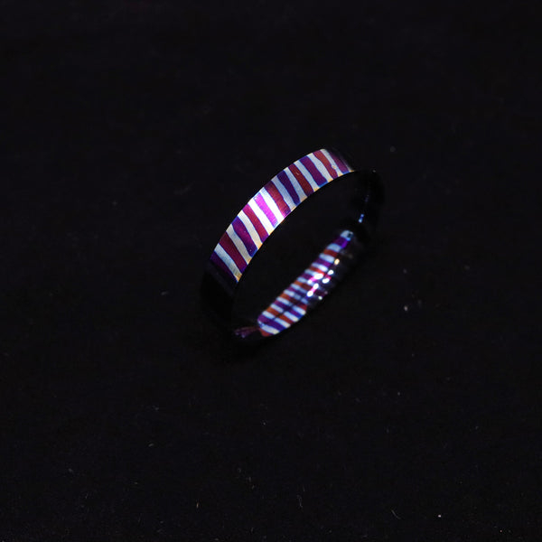 Heat Treated Titanium Damascus Ring Blank 4mm Wide Liner