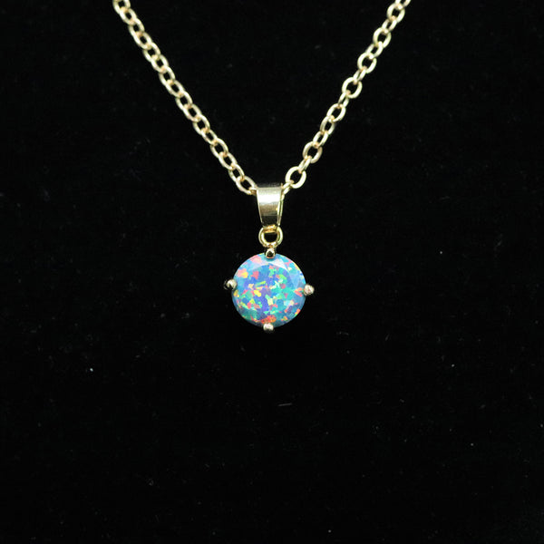 Faceted Moonstone Opal Necklace 14k Gold Plated 8mm