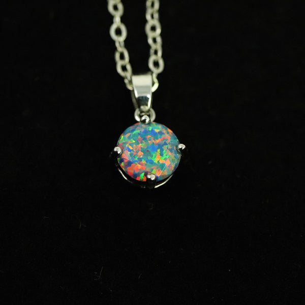 Faceted Moonstone Opal Necklace White Gold Plated 8mm