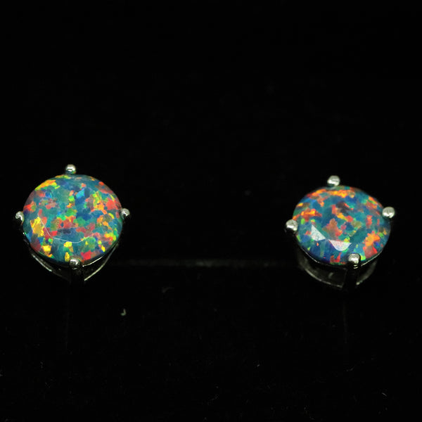 Faceted Moonstone Opal Stud Earrings White Gold Plated 5mm/6mm/7mm