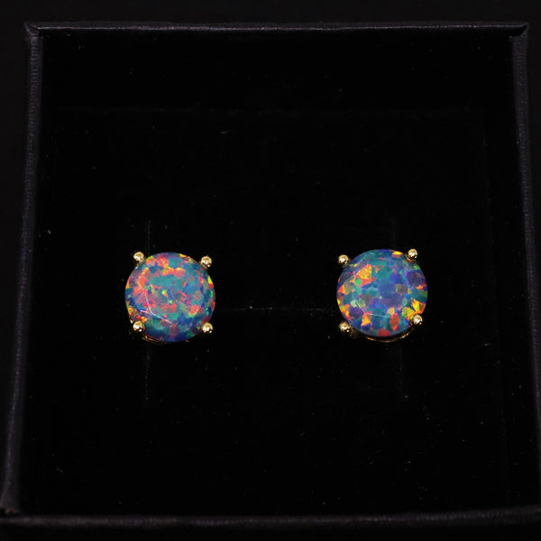 Faceted Moonstone Opal Stud Earrings 14k Gold Plated