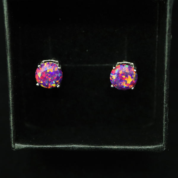 Faceted Orchid Opal Stud Earrings White Gold Plated 5mm/6mm/7mm