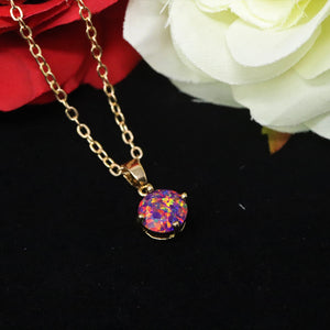 Faceted Orchid Opal Necklace 14k Gold Plated 8mm