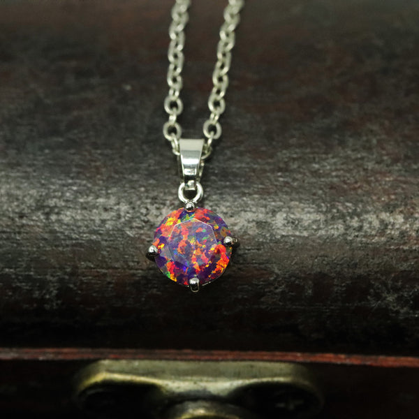 Faceted Orchid Opal Necklace White Gold Plated 8mm