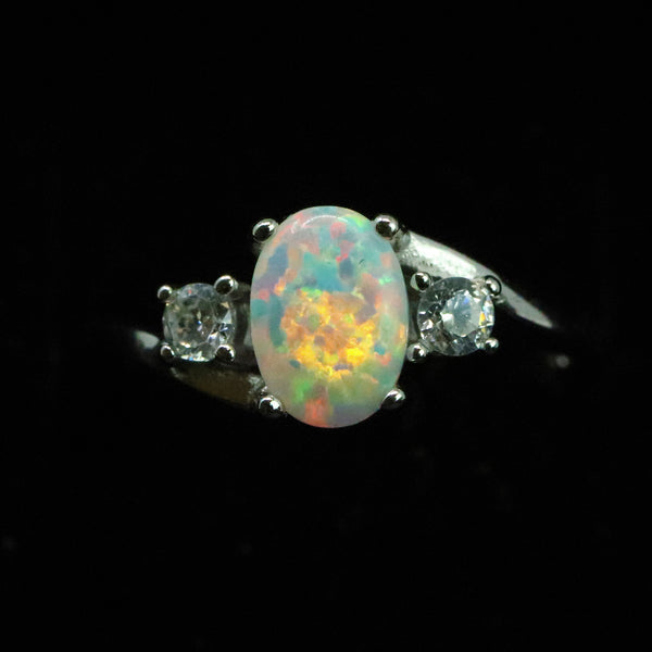 Oval Cut Pearl White Opal Ring with Cubic Zirconia - 925 Sterling Silver Statement Ring