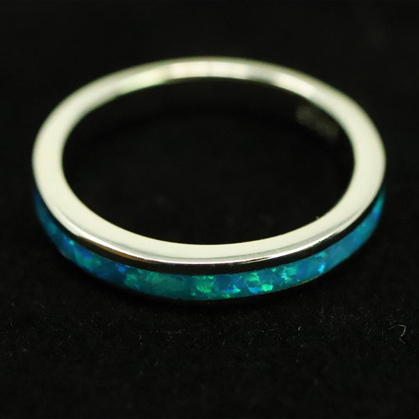 3mm Single Band Pacific Sapphire Opal Ring - 925 Sterling Silver Stackable Ring
