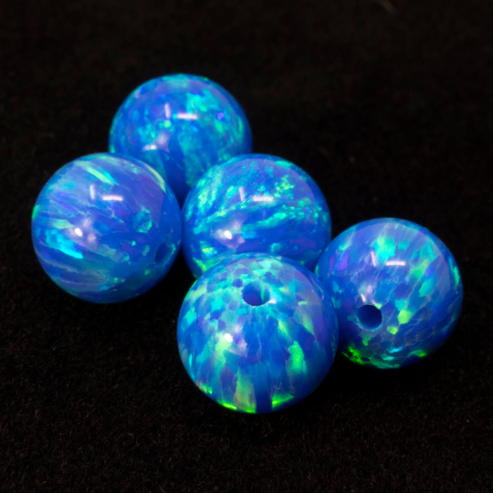 Pacific Sapphire Opal 8mm Craft Beads - 1mm Center Drilled