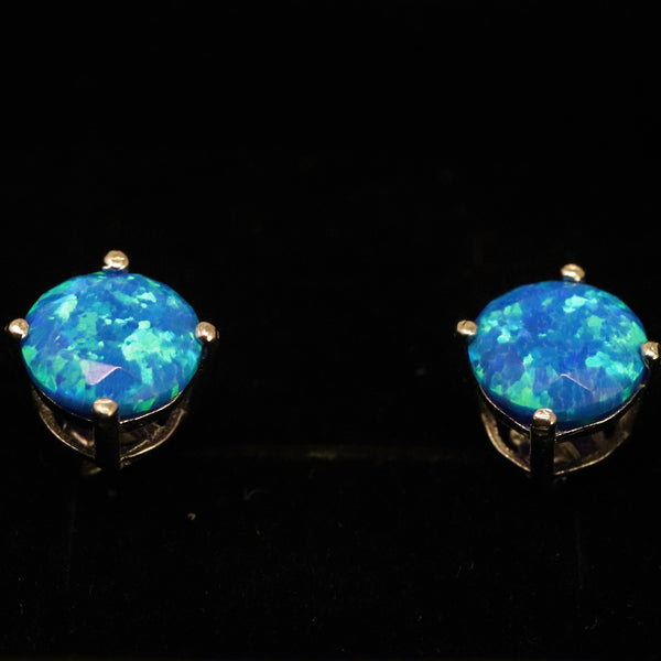 Faceted Pacific Sapphire Opal Stud Earrings White Gold Plated 5mm/6mm7mm