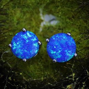 Faceted Pacific Sapphire Opal Stud Earrings White Gold Plated
