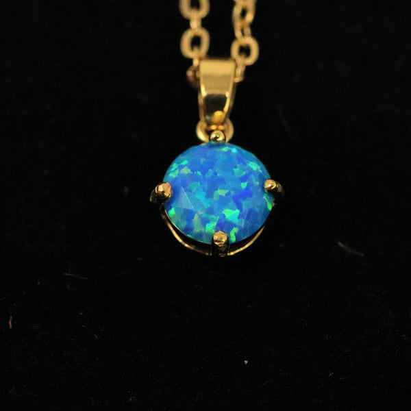 Faceted Pacific Sapphire Opal Necklace 14k Gold Plated 8mm
