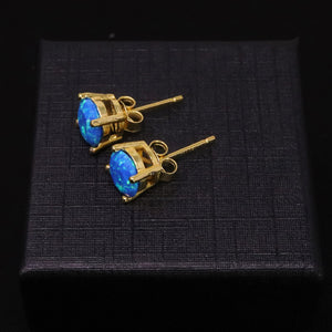 Faceted Pacific Sapphire Opal Stud Earrings 14k Gold Plated