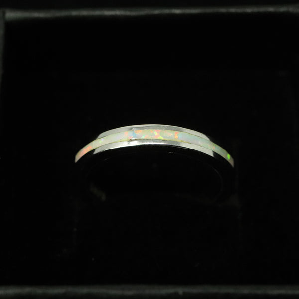 3mm Single Band Pearl White Opal Ring - 925 Sterling Silver Stackable Ring