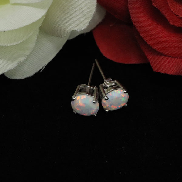 Faceted Pearl White Opal Stud Earrings White Gold Plated 5mm/6mm/7mm