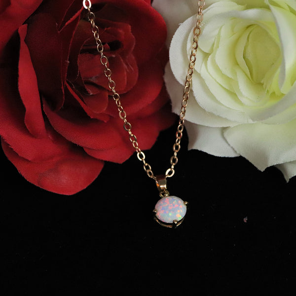 Faceted Pearl White Opal Necklace 14k Gold Plated 8mm