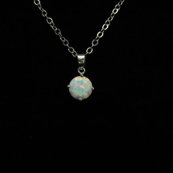 Faceted Pearl White Opal Necklace White Gold Plated 8mm