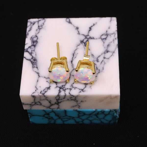 Faceted Pearl White Opal Stud Earrings 14k Gold Plated