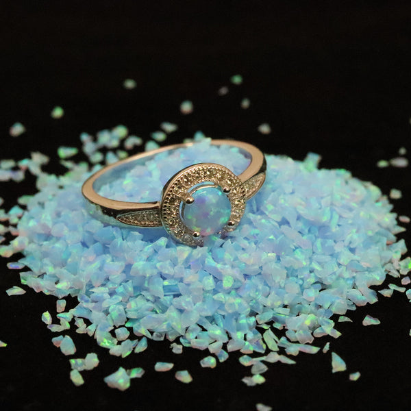 Round Cut Neptune Opal Ring - 925 Sterling Silver Statement Ring