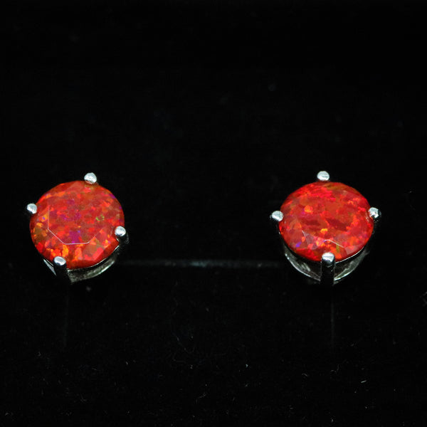 Faceted Ruby Red Opal Stud Earrings White Gold Plated