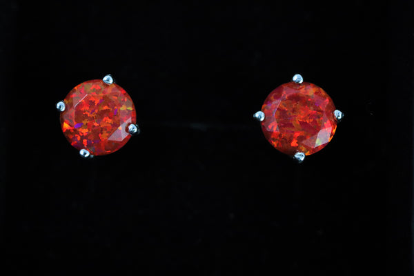 Faceted Ruby Red Opal Stud Earrings White Gold Plated 5mm/6mm/7mm