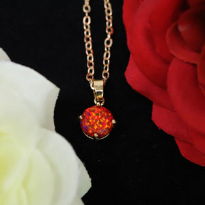 Faceted Ruby Red Opal Necklace 14k Gold Plated 8mm