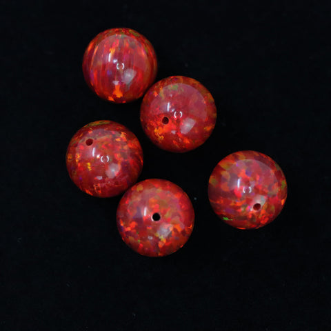 Ruby Red Opal 10mm Craft Beads - 1mm Center Drilled