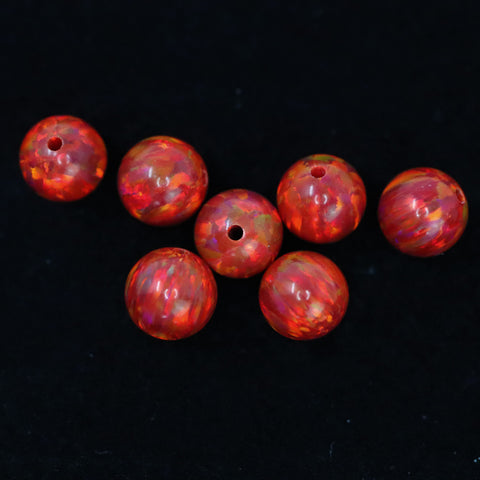 Ruby Red Opal 6mm Craft Beads - 1mm Center Drilled