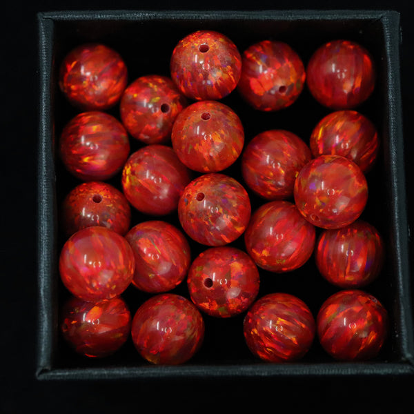 Ruby Red Opal 8mm Craft Beads - 1mm Center Drilled