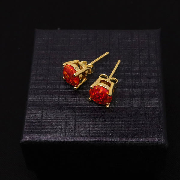 Faceted Ruby Red Opal Stud Earrings 14k Gold Plated