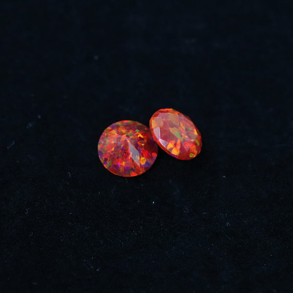 Ruby Red Diamond Cut Faceted Opal Stones