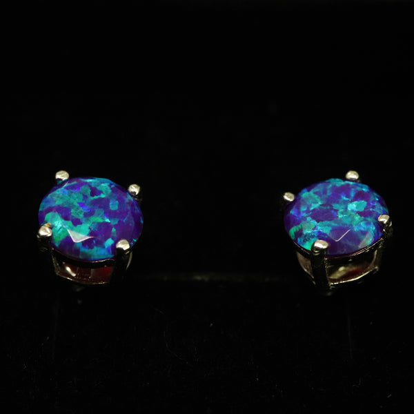 Faceted Sleepy Lavender Opal Stud Earrings White Gold Plated 5mm/6mm/7mm
