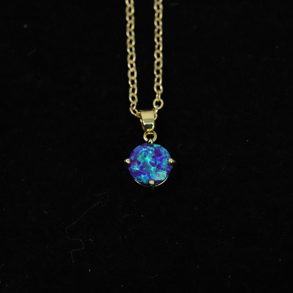 Faceted Sleepy Lavender Opal Necklace 14k Gold Plated 8mm