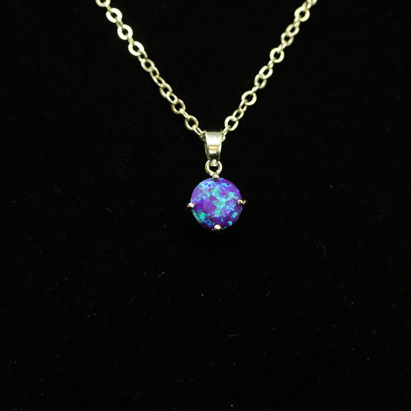 Faceted Sleepy Lavender Opal Necklace White Gold Plated 8mm