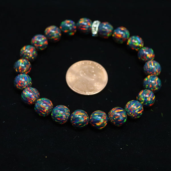 Unisex Black Fire Beaded Bracelet
