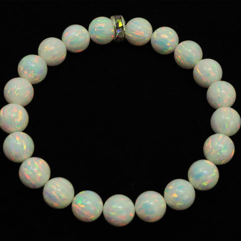 Unisex Pearl White Beaded Bracelet